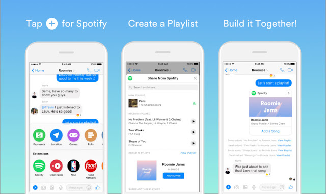 الان يمكنك إنشاء قوائم تشغيل الأغاني الخاصة بSpotify في فايسبوك مسنجر حتى ولو لم تمتلك حساب Spotify