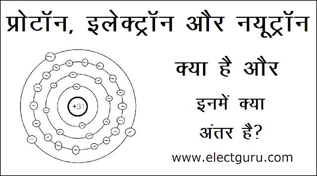 proton electron neutron definition in hindi