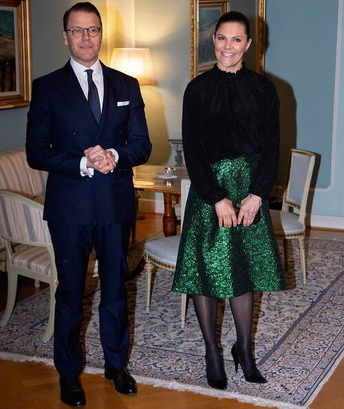 Crown Princess Victoria wore a metallic brocade skirt by Baum und Pferdgarten, and a black silk blouse by Rodebjer