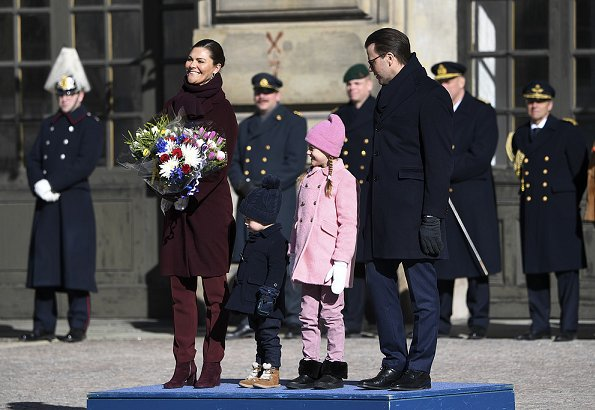Prince Daniel, Princess Estelle and Prince Oscar attended Princess Victoria's Name Day. By Malina trousers