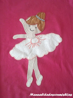 Camiseta-personalizado-con-telas-niña-bailarina