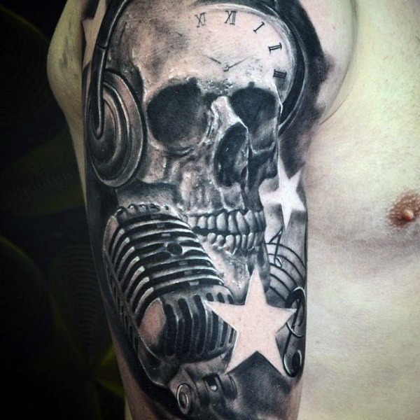 Amazing Music Skull Tattoo For Men