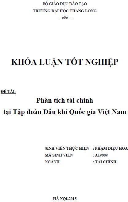Phân tích tài chính tại Tập đoàn Dầu khí Quốc Gia Việt Nam