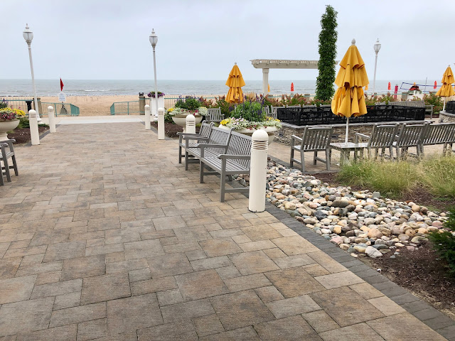 A view of the beach and outside lounge area at Hotel Breakers at Cedar Point, Sandusky, Ohio