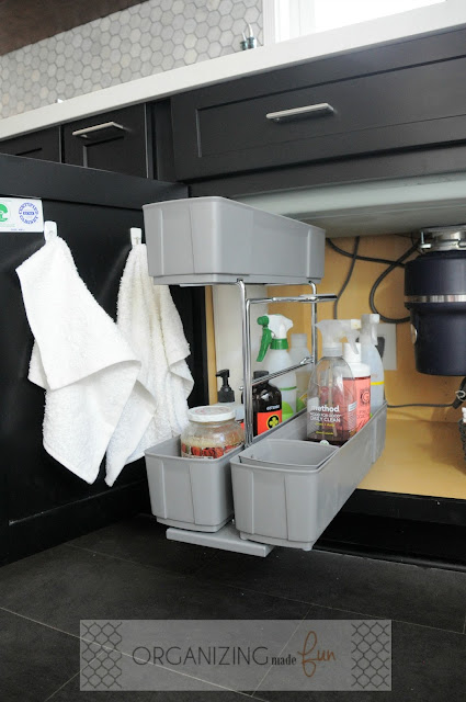 Pull out kitchen caddy under kitchen sink :: OrganizingMadeFun.com