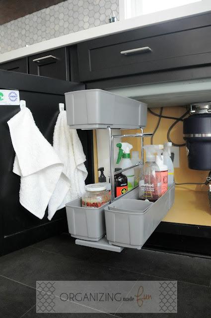 Pull out kitchen caddy under kitchen sink :: OrganizingMadeFun.com