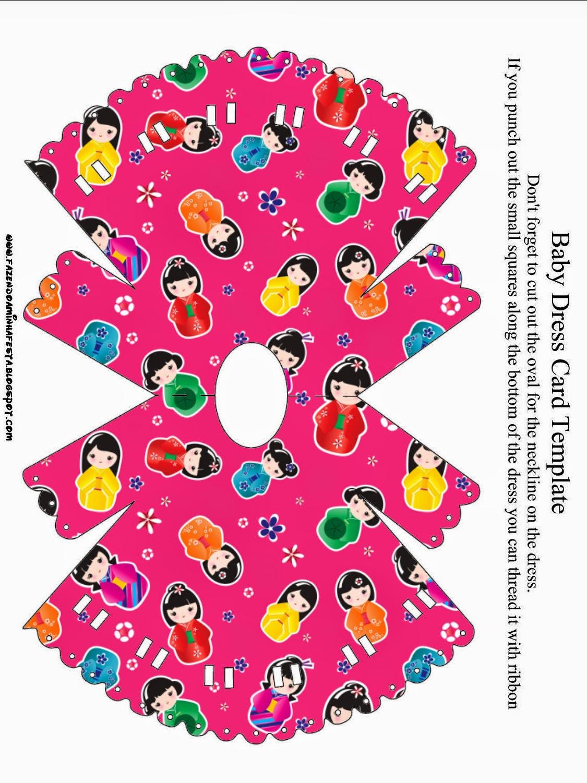 Invitacion en forma de Camisón de Bebé para Imprimir gratis de Matrioshkas.
