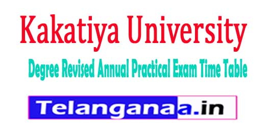 KU Degree Revised Annual Practical Exam Time Table 2018
