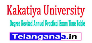 KU Degree Revised Annual Practical Exam Time Table 2017