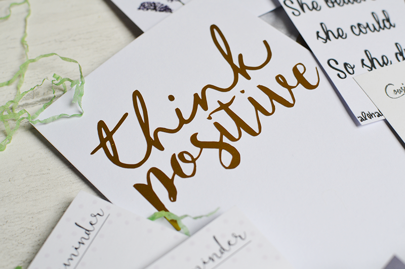 Think Positive Gold Foil Print That Lame Company Spring Box of Lame Review | Colours and Carousels - Scottish Lifestyle, Beauty and Fashion blog