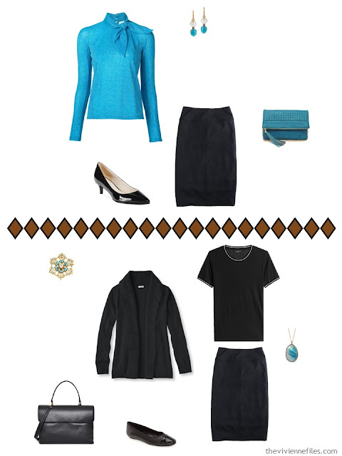 how to wear a black pencil skirt - dress and casual