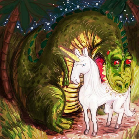 dibujo de un dinosaurio y un unicornio