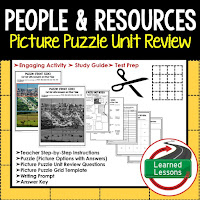 People and Resources, World Geography Picture Puzzle BUNDLE, Test Prep, Unit Review, Study Guide