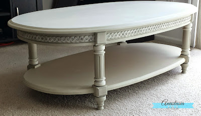 painted grey beige oval coffee table glazed