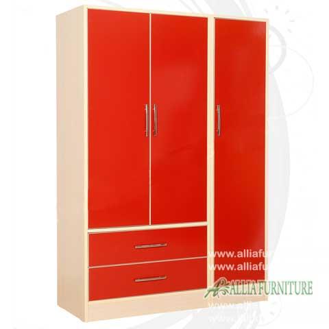 lemari baju minimalis modern 3 pintu bonia