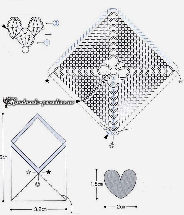 Вязаный конверт с сердечками. Схемы вязания