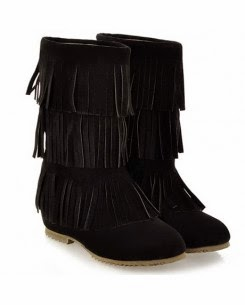 Black Suede Fringe Boot.