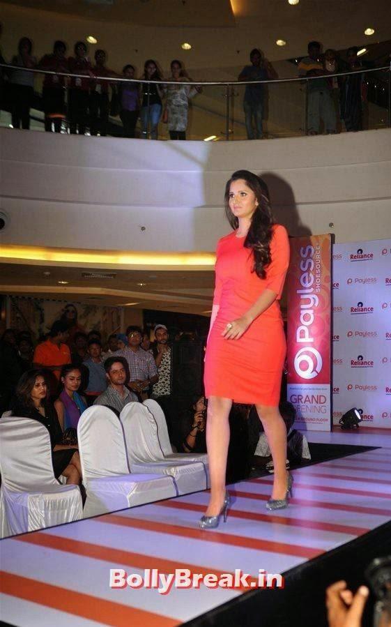 Sania Mirza Photos, Sania Mirza Hot Pics in Red Midi Dress