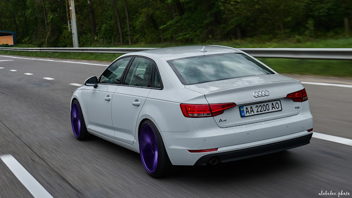 white Audi A4 #nothing_extra on Vossen wheel