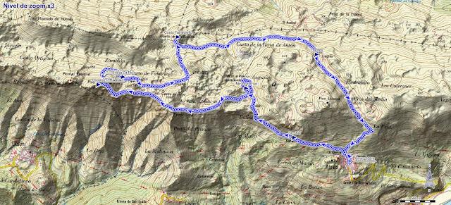 Mapa ruta pico Paisano y Cuetu Tabladiellu desde Alevia