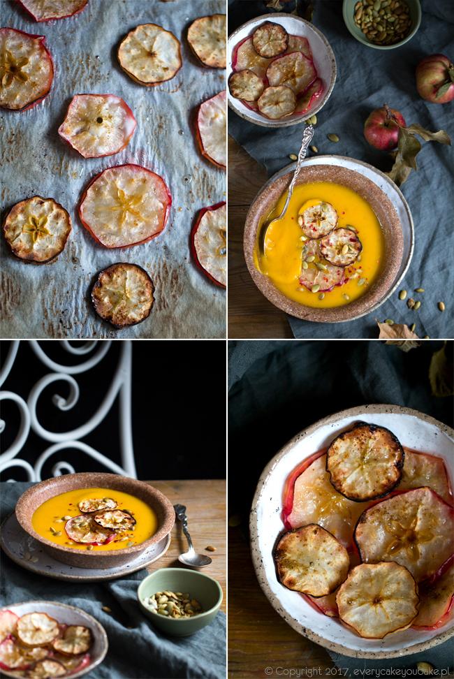 kremowa zupa dyniowa z pieczonym jabłkiem i pestkami dyni