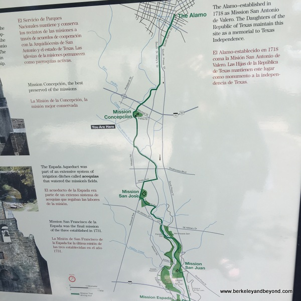 road map of San Antonio Missions National Historical Park in San Antonio, Texas