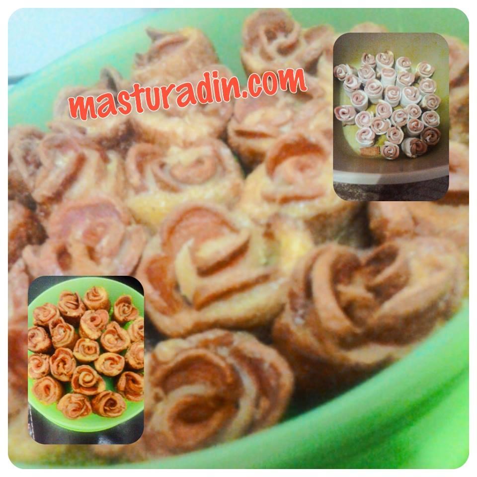 resepi roti gulung sosej, bentuk bunga ros, cara, mawar