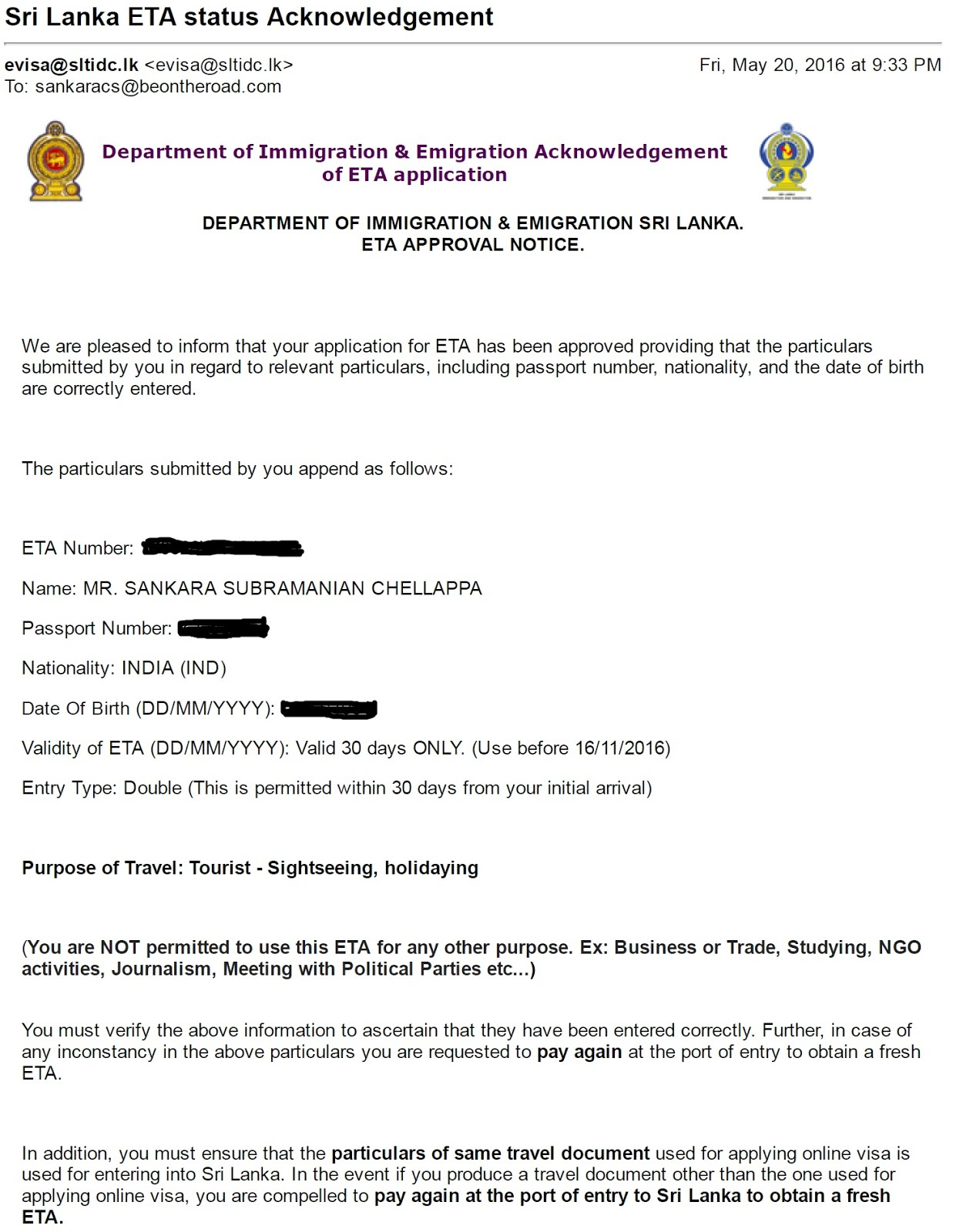 Sri Lanka ETA e-visa for Indians