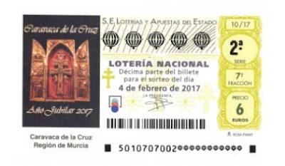 loteria nacional sabado 4 febrero en Caravaca de la cruz en Murcia
