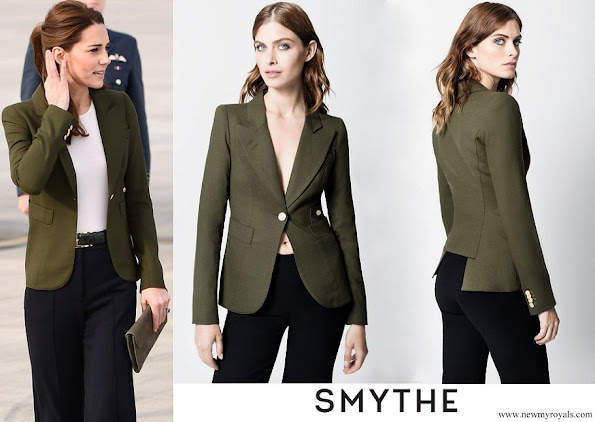 Kate's wearing her Smythe Duchess Blazer in Army green.