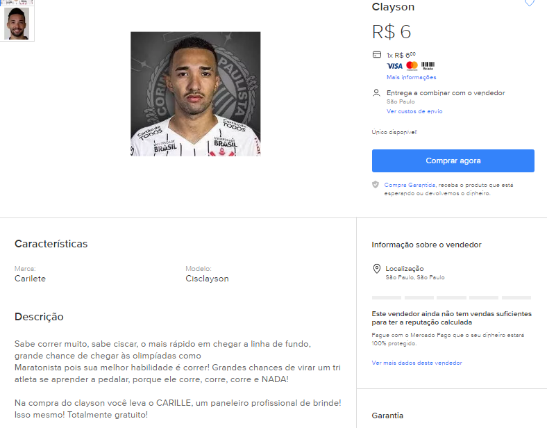 """Torcedor do Corinthians """"vende"""" Clayson no Mercado Livre por R$6,00"""