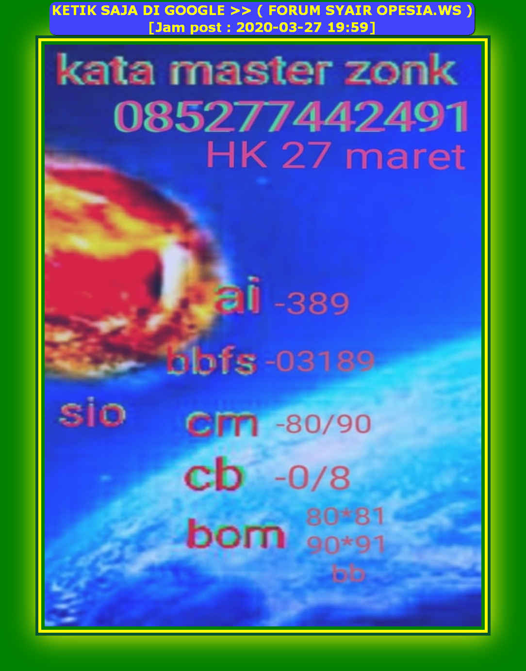 Kode syair Hongkong Jumat 27 Maret 2020 24