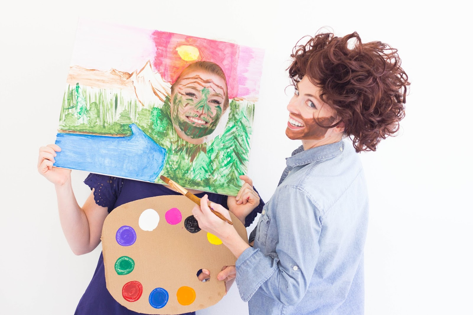 Do it yourself divas diy bob ross halloween costume with happy happy little tree costume idea solutioingenieria Choice Image