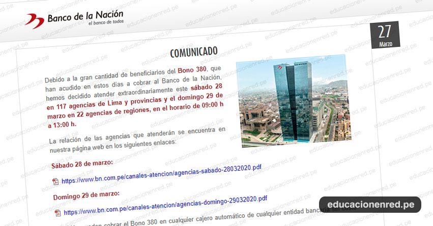 COMUNICADO BANCO DE LA NACIÓN: Atención extraordinario los días Sábado 28 y Domingo 29 de Marzo - www.bn.com.pe
