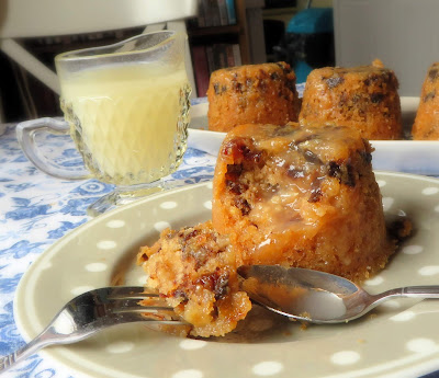 Prune & Walnut Puddings with a Lemon Sauce
