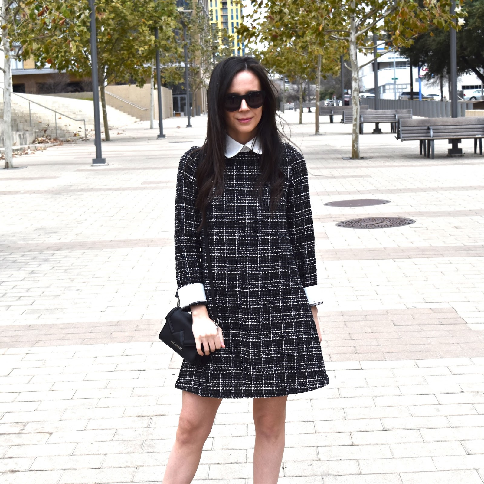 Shein Black Plaid Contasst Collar And Cuff Tweed Dress
