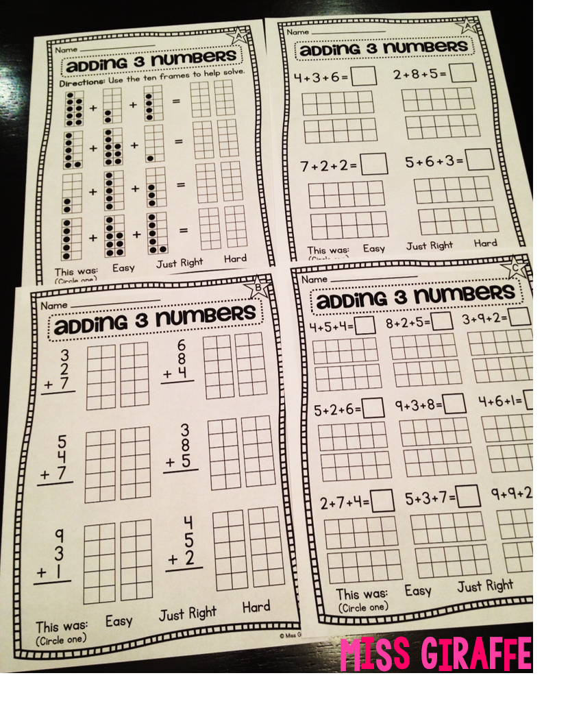 Miss Giraffe's Class: Adding 3 Numbers [ 1030 x 829 Pixel ]