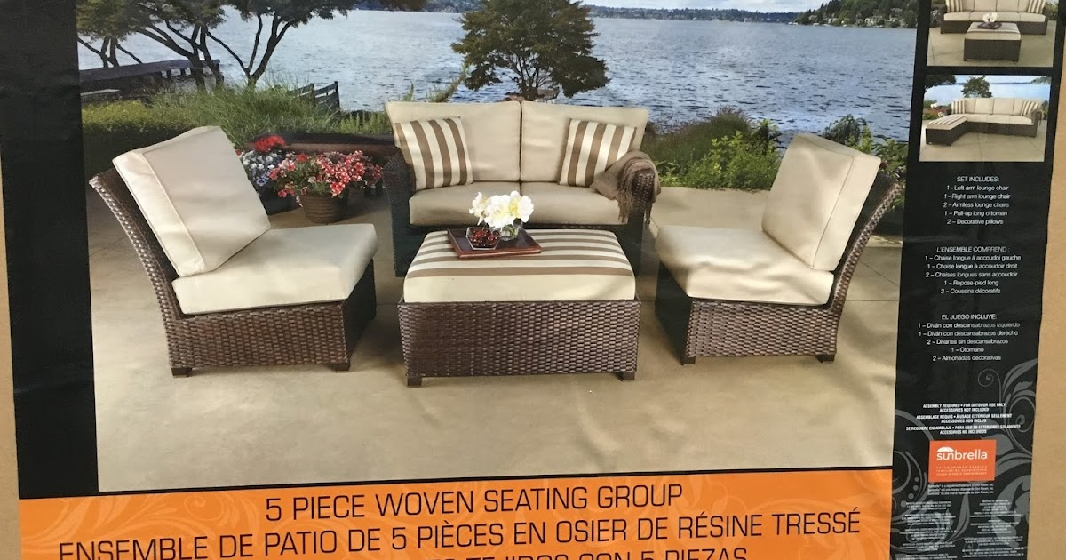 Sunbrella 5 Piece Modular Sectional Woven Seating Group