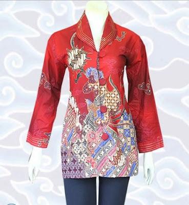 contoh model baju batik wanita terbaru