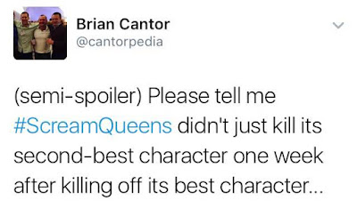 Brian Cantor Scream Queens Twitter Review