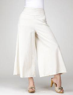 Pantalones de lino de piernas y cintura ancha con lazo posterior