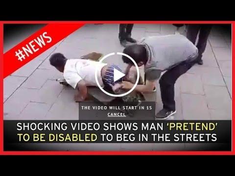 تظاهر بانه مبتور الساقين ليتسول وهكذا فضحوه في الشارع وأمام الجميع