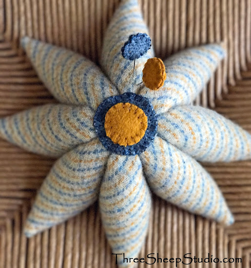 Wool Eight Pointed Civil War Pincushion with Penny Pins by Rose Clay at ThreeSheepStudio.com