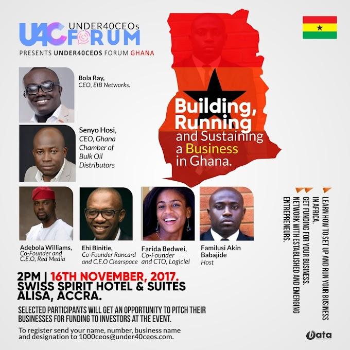 Under 40 CEOs Forum – Ghana slated for November 16