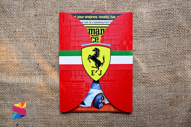 Ferrari Themed Gatefold Invitation Stunro CreativeWorks
