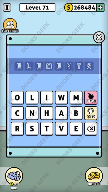 The answer for Escape Room: Mystery Word Level 71 is: ELEMENTS