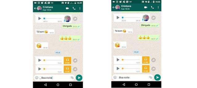 Texto em itálico Whatsapp