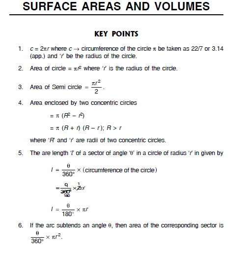 Surface areas and  volumes key points and questions,class10 notes