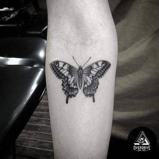 Este preto e cinza de tinta de tatuagem de borboleta no antebraço