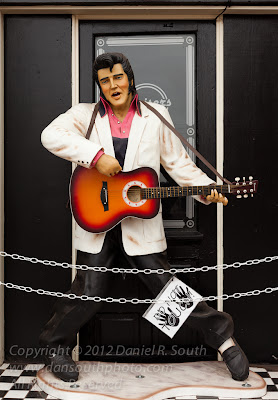 a photo of an elvis statue on historic route 66 in arizona